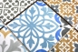 Preview: Retro Vintage Mosaik Fliese Keramikmosaik creme blau orange grau matt 22B-1406