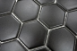 Preview: Mosaik Fliese Keramikmosaik Hexagon schwarz matt 11B-0311