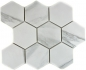 Preview: Mosaik Fliese Keramikmosaik weiß Hexagon Carrara 11F-0102