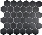 Preview: Mosaik Fliese Keramikmosaik Hexagon schwarz unglasiert 11B-0304-R10