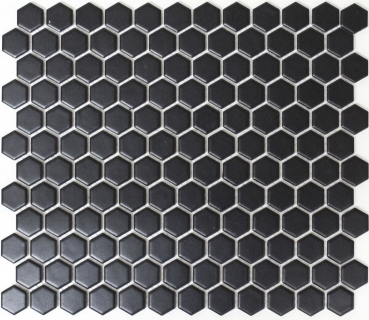 Mosaik Fliese Keramikmosaik Hexagon schwarz matt 11A-0311