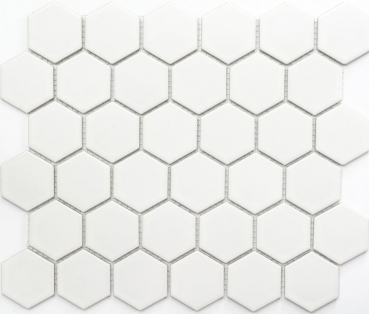 Mosaik Fliese Keramikmosaik Hexagon weiß matt 11B-0111