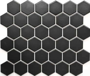 Mosaik Fliese Keramikmosaik Hexagon schwarz matt 11B-0311