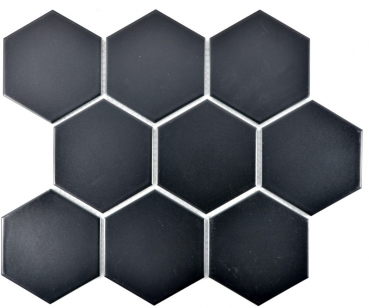 Mosaik Fliese Keramikmosaik Hexagon schwarz matt 11F-0311