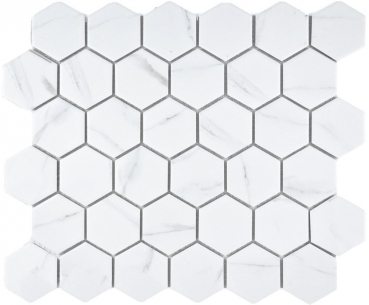 Mosaik Fliese Keramikmosaik weiß Hexagon Carrara 11G-0102