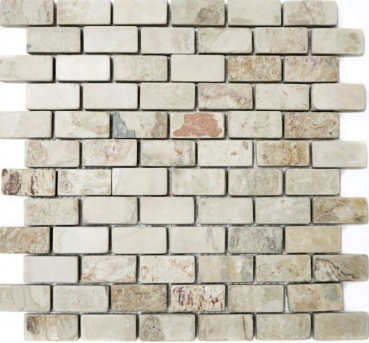 Mosaik Fliese Schiefer Natursteinmosaik beige rost Brick Indian Autumn Brick-220