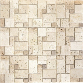 Mosaik Fliese Travertin Natursteinmosaik Kombination Travertin beige 43-1212-15