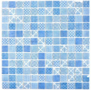 Retro Vintage Mosaik Fliese ECO Recycling Glasmosaik ECO blau patchwork 145-P-40