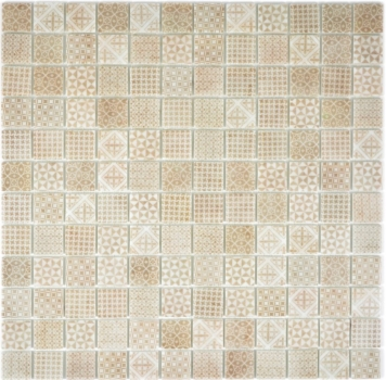 Retro Vintage Mosaik Fliese ECO Recycling Glasmosaik ECO beige patchwork 145-P-50