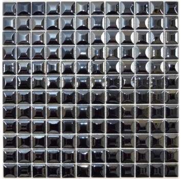 Mosaik Fliese ECO Recycling Glasmosaik ECO schwarz metallic 3DF 350-28