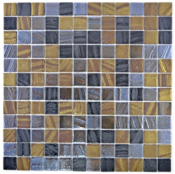 Mosaik Fliese ECO Recycling Glasmosaik ECO schwarz anthrazit satin gold bronze oxide 360-357