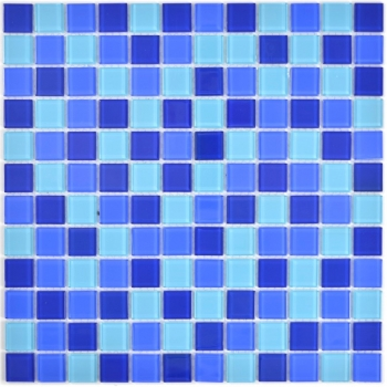 Mosaik Fliese Transparent Transluzent Glasmosaik Crystal blau 63-0405