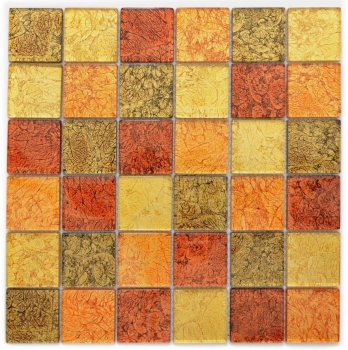 Mosaik Fliese Transparent Transluzent Glasmosaik Crystal gold orange Struktur 120-07424