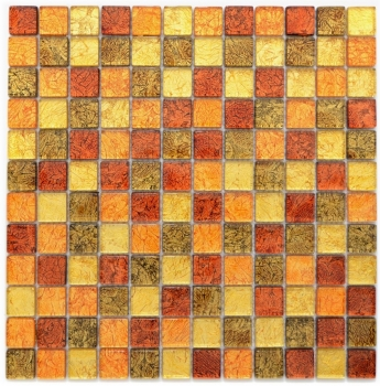 Mosaik Fliese Transparent Transluzent Glasmosaik Crystal gold orange Struktur 120-07814