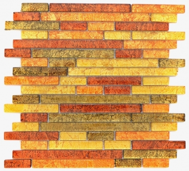 Mosaik Fliese Transparent Transluzent Verbund Glasmosaik Crystal gold orange Struktur 86-07814