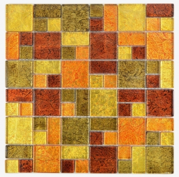 Mosaik Fliese Transparent Transluzent Kombination Glasmosaik Crystal gold orange Struktur 88-07814