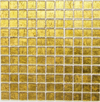 Mosaik Fliese Transparent Transluzent Glasmosaik Crystal gold Struktur 120-0742