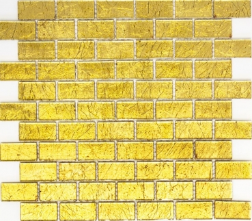 Mosaik Fliese Transparent Transluzent Brick Glasmosaik Crystal gold Struktur 120-0744