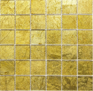 Mosaik Fliese Transparent Transluzent Glasmosaik Crystal gold Struktur 120-0746