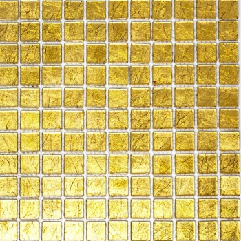Mosaik Fliese Transparent Transluzent Glasmosaik Crystal gold Struktur 120-0782