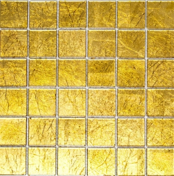 Mosaik Fliese Transparent Transluzent Glasmosaik Crystal gold Struktur 120-0786