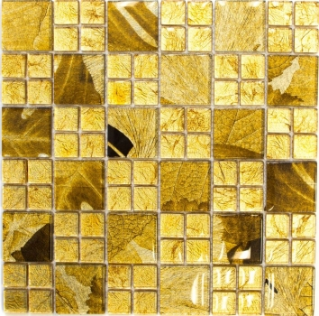 Mosaik Fliese Transparent Transluzent Kombination Glasmosaik Crystal Desert gold 88-8DSG