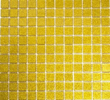 Mosaik Fliese Transparent Transluzent Glasmosaik Crystal gold gehämmert 60-0707