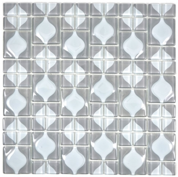 Mosaik Fliese Transparent Transluzent grau 3D grau Red Dot Design 68-0215