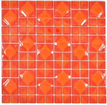 Mosaik Fliese Transparent Transluzent rot 3D rot Red Dot Design 68-0925