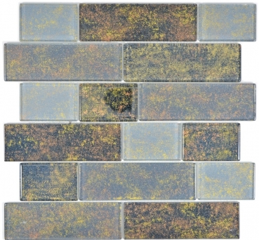 Mosaik Fliese Transparent Transluzent schwarz Mauerverbund Rusty Black 68-2569L