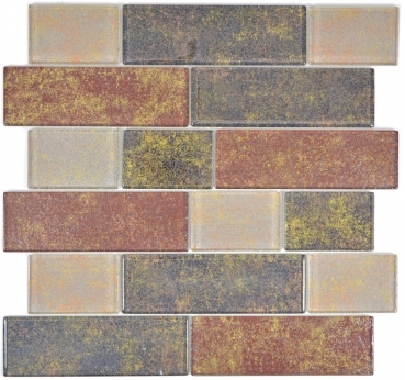 Mosaik Fliese Transparent Transluzent braun Mauerverbund Rusty Brown 68-1379L