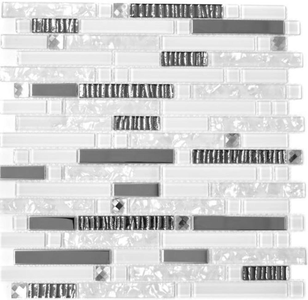Mosaikfliese Transluzent Edelstahl weiß Verbund Glasmosaik Crystal Stahl weiß G