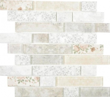 Transparent Transluzent Mosaik Brick Verbund ECO Glasmosaik Rose