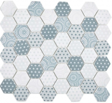Glasmosaik Mosaik Hexagon ECO blau