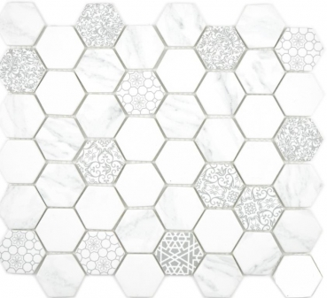 Glasmosaik Mosaik Hexagon ECO Carrara