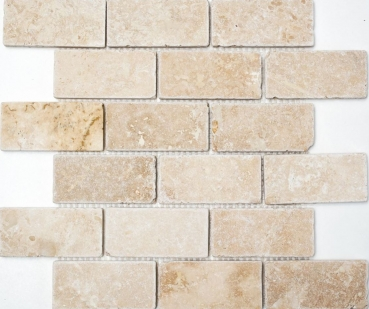 Mosaik Fliese Travertin Natursteinmosaik beige Brick Inula Chiaro Antique Travertin 43-1202