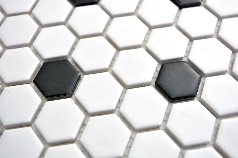 Mosaik Fliese Keramik wei/ß Hexagon Calacatta Wandfliesen Badfliese MOS11F-0112