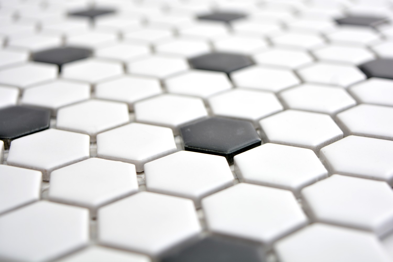 Mosaik Fliese Keramik Hexagon schwarz gl/änzend K/üche Fliese WC Badfliese MOS11F-0301/_m