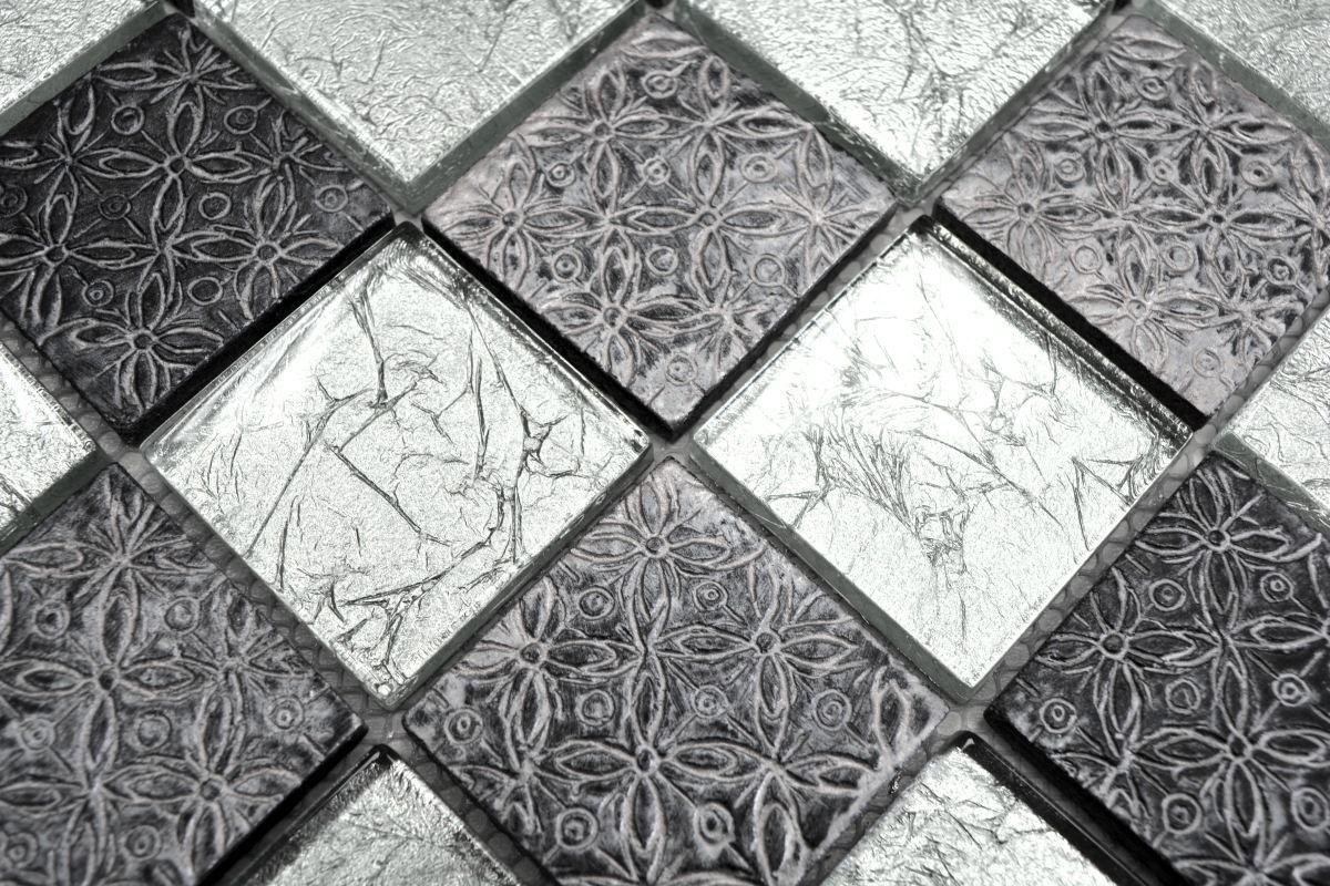 Mosaik Rückwand Transluzent silber Glasmosaik Crystal Resin Optik silber  ...