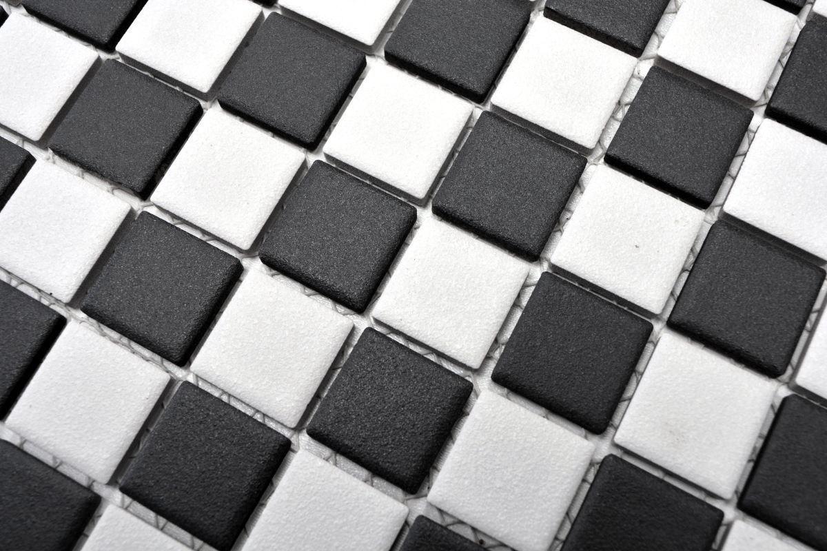 10 Matten 16-CD202/_f Mosaik Fliese Keramik Schachbrett schwarz weiß matt Küche