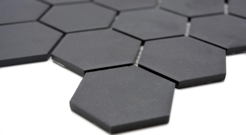 Mosaikfliese Keramik St/äbchen schwarz unglasiert Duschtasse Bodenfliese MOS24B-0310-R10