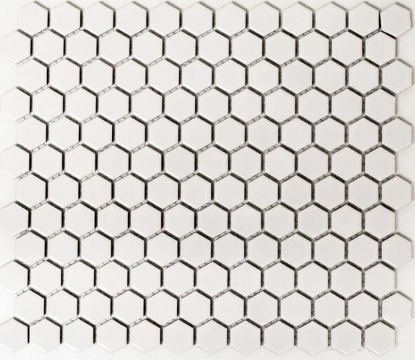 Mosaik Fliese Keramikmosaik Hexagon weiß matt 11A-0111