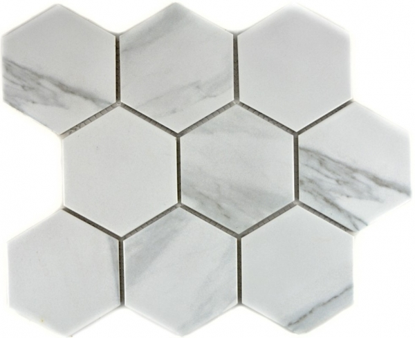Mosaik Fliese Keramikmosaik weiß Hexagon Carrara 11F-0102