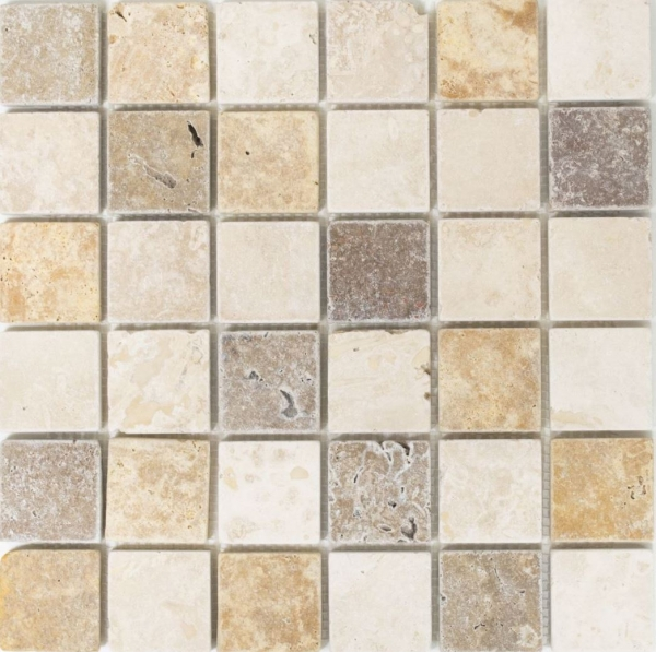 Mosaik Fliese Travertin Natursteinmosaik beige braun Travertin tumbled 43-46685