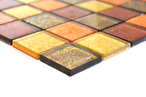Mosaik Fliese Transparent Transluzent Glasmosaik Crystal gold orange Struktur 120-07824