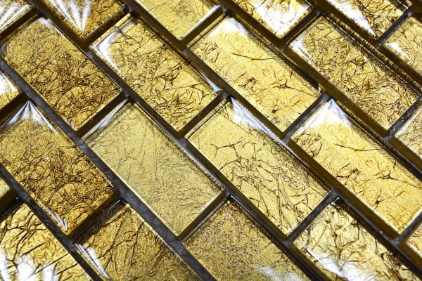 Mosaik Fliese Transparent Transluzent Brick Glasmosaik Crystal gold Struktur 120-0784