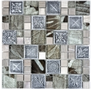 Mosaik Fliese Transparent Transluzent silber Kombination Glasmosaik Crystal Resin silber Ornament 88-0280